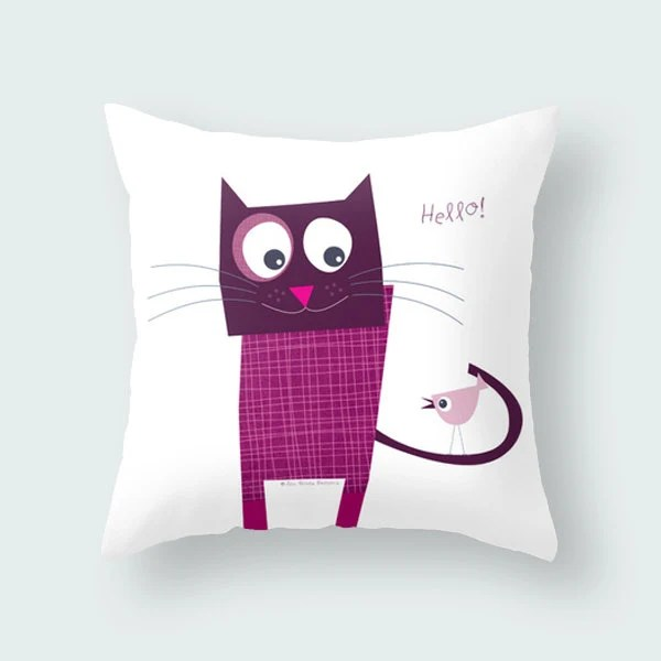 Fun purple cat quote pillow cover kids throw by