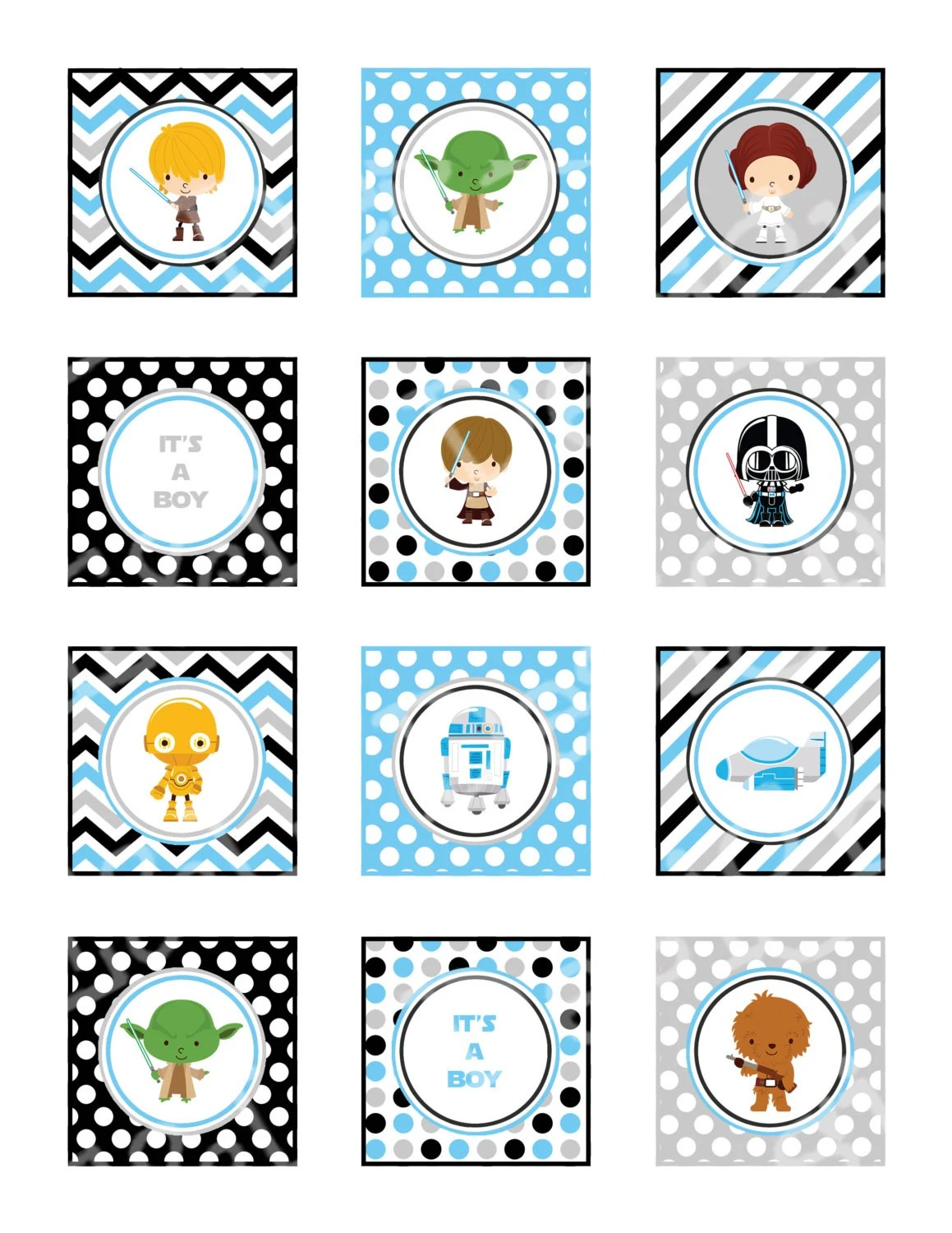 Star Wars Baby Shower 2 Cupcake Toppers And Wrappers Boy