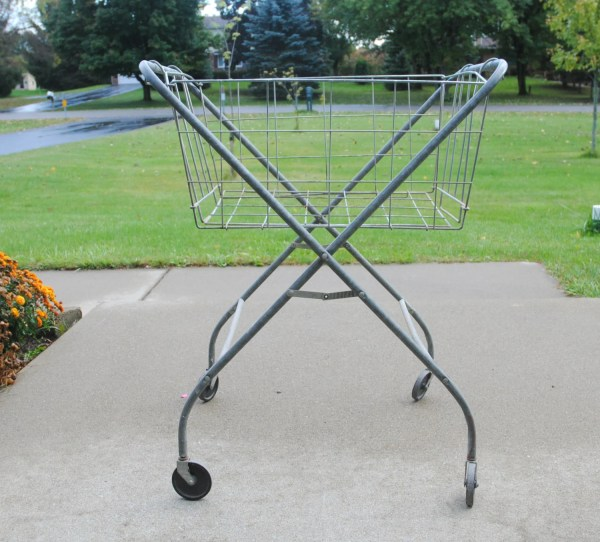 Vintage Laundry Cart Wheels With Folding Wire