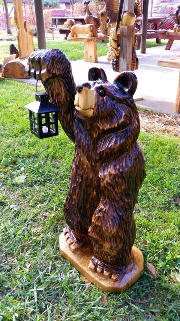 3ft Chainsaw Carving Carved Lantern Bear