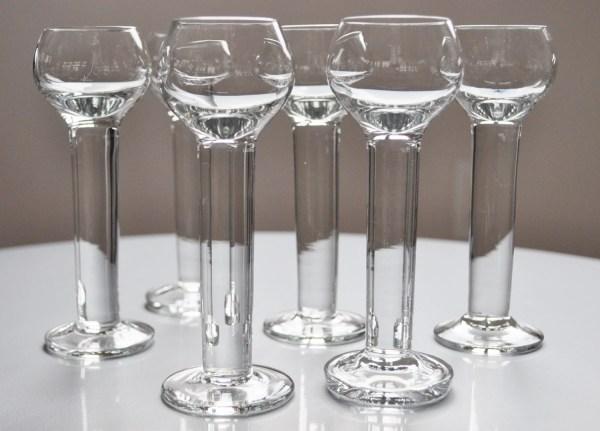 Vintage Cordial Liqueur Aperitif Glasses Set Of 6 Tall 1980s