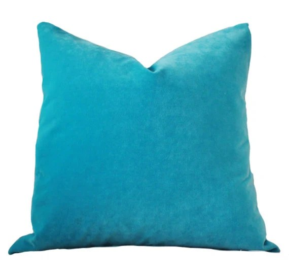Turquoise Pillow Turquoise Velvet Pillow Cover Solid