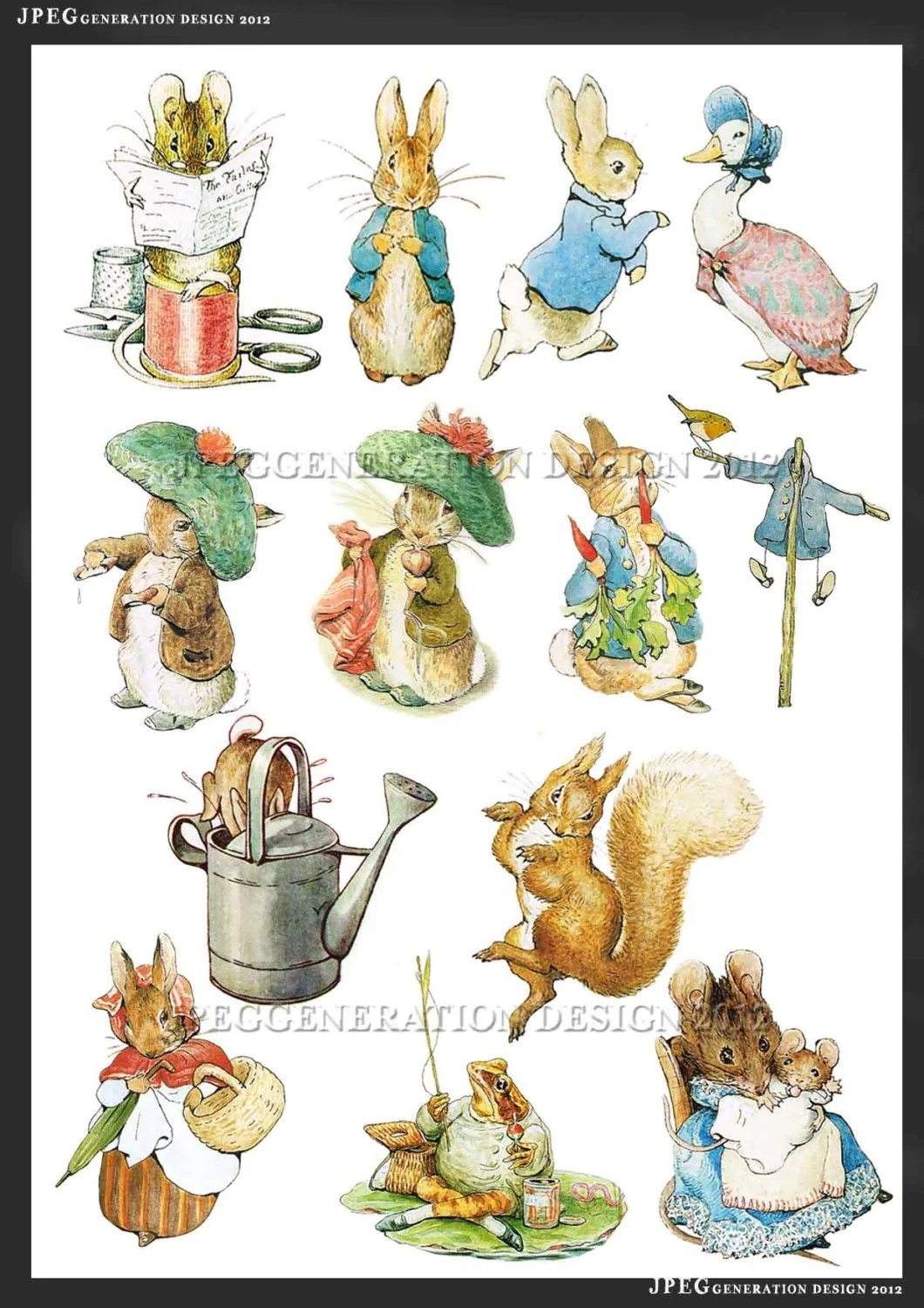 Peter Rabbit Digital Collage Sheets Cupcake Toppers Printable Party Supplies Beatrix Potter