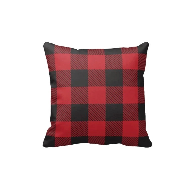 Black and Red Buffalo Check Pillow Cover & Insert Plaid