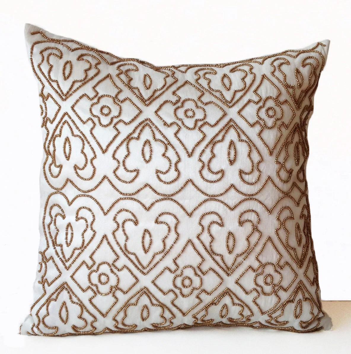 gold sofa throw pillows memory foam sectional value city ivory decorative pillow case beads designer