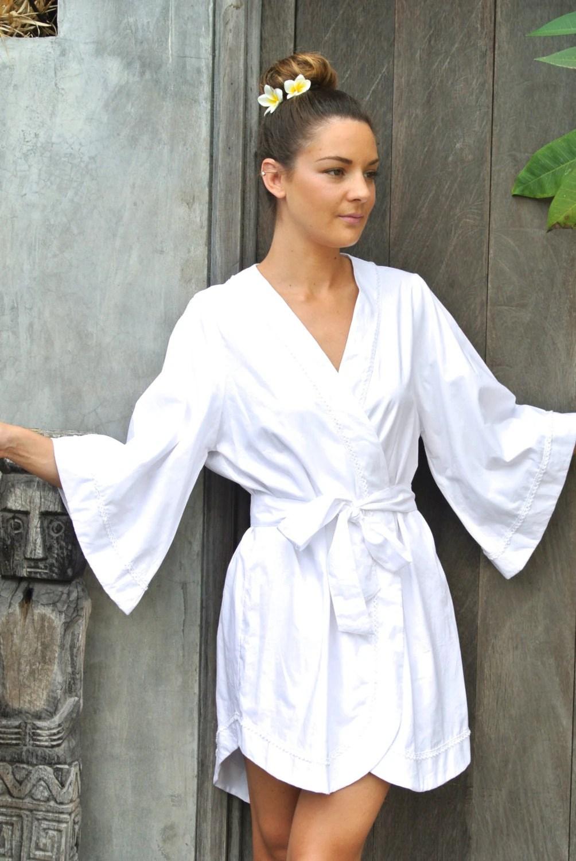 Bridal Robe Luxurious Kimono Robe White Cotton