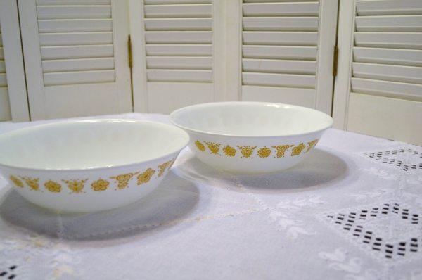 Vintage Corelle Serving Bowl Set Of 2 Butterfly Gold Pattern