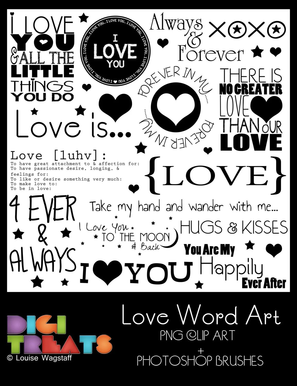 50% OFF~LOVE Word Art (PNG Clip Art) + Photoshop Brush Set