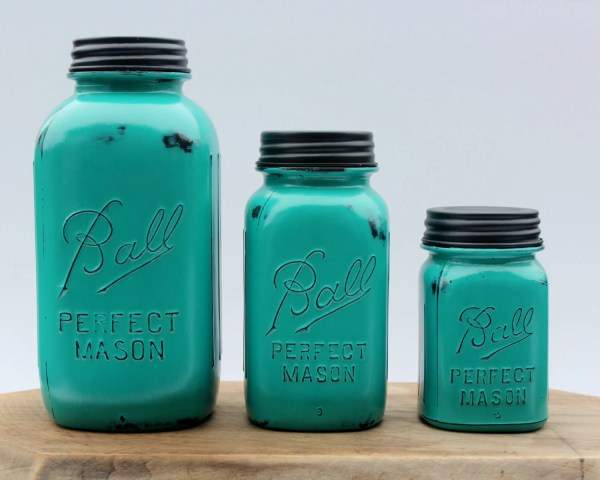 mason jar canister set kitchen 3 Piece Teal Mason Jar Canister Set Kitchen Distressed half