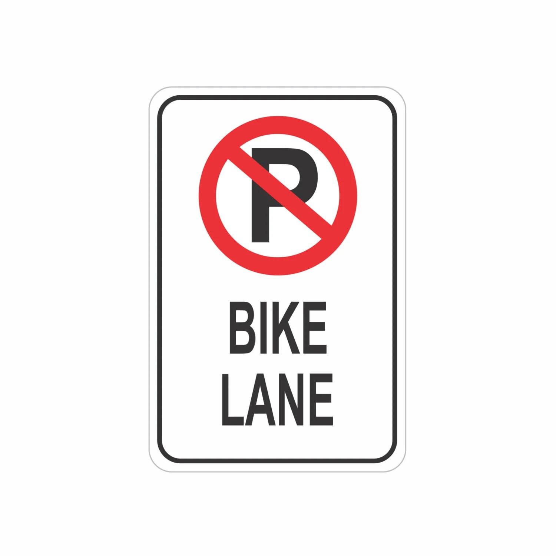 No Parking Bike Lane Aluminum Sign Heavy Gauge No Rust