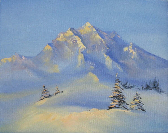 Winter Snow Mountain Landscape Oil Painting ORIGINAL Small