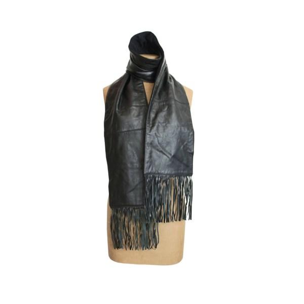 90s Anne Klein Leather Scarf Vintage Black Fringed Shawl