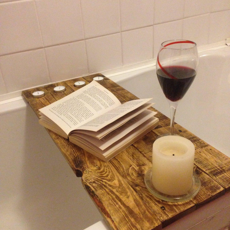 Reclaimed Wood Bath Shelf Bath Tray Caddy For Your Books