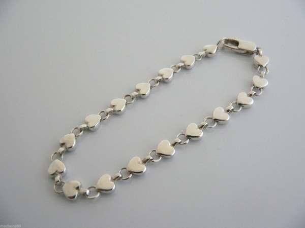 Tiffany & Silver Heart Hearts Link Links Bracelet Bangle
