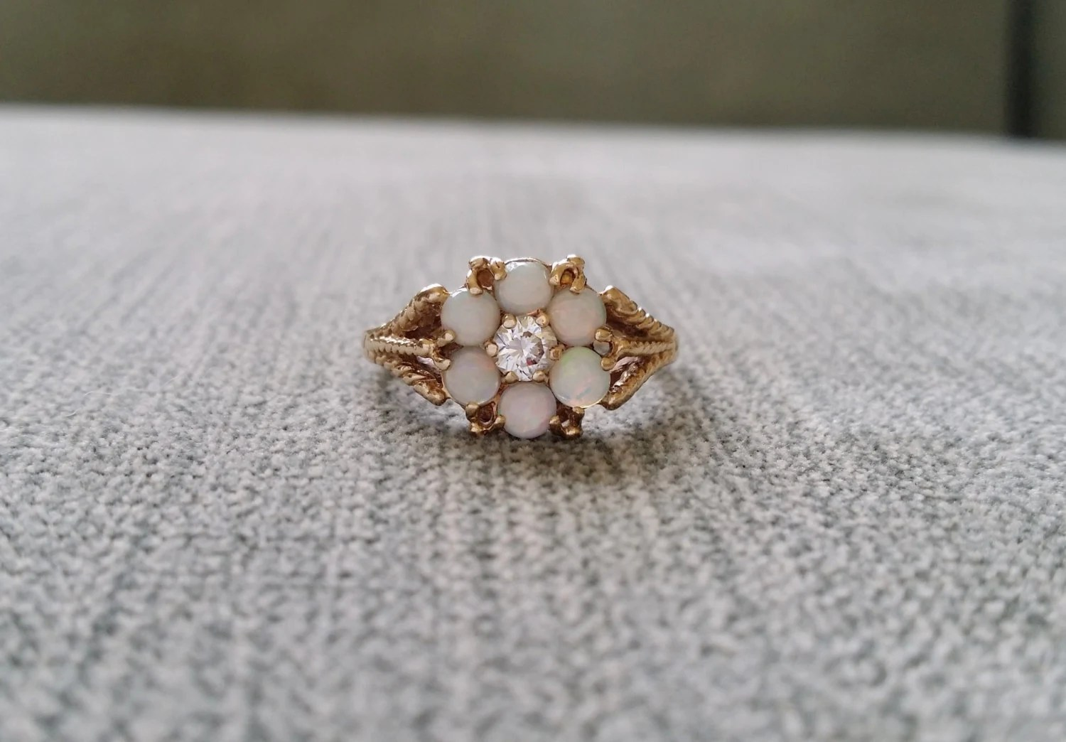 Antique Opal White Sapphire Engagement Ring Flower Filigree