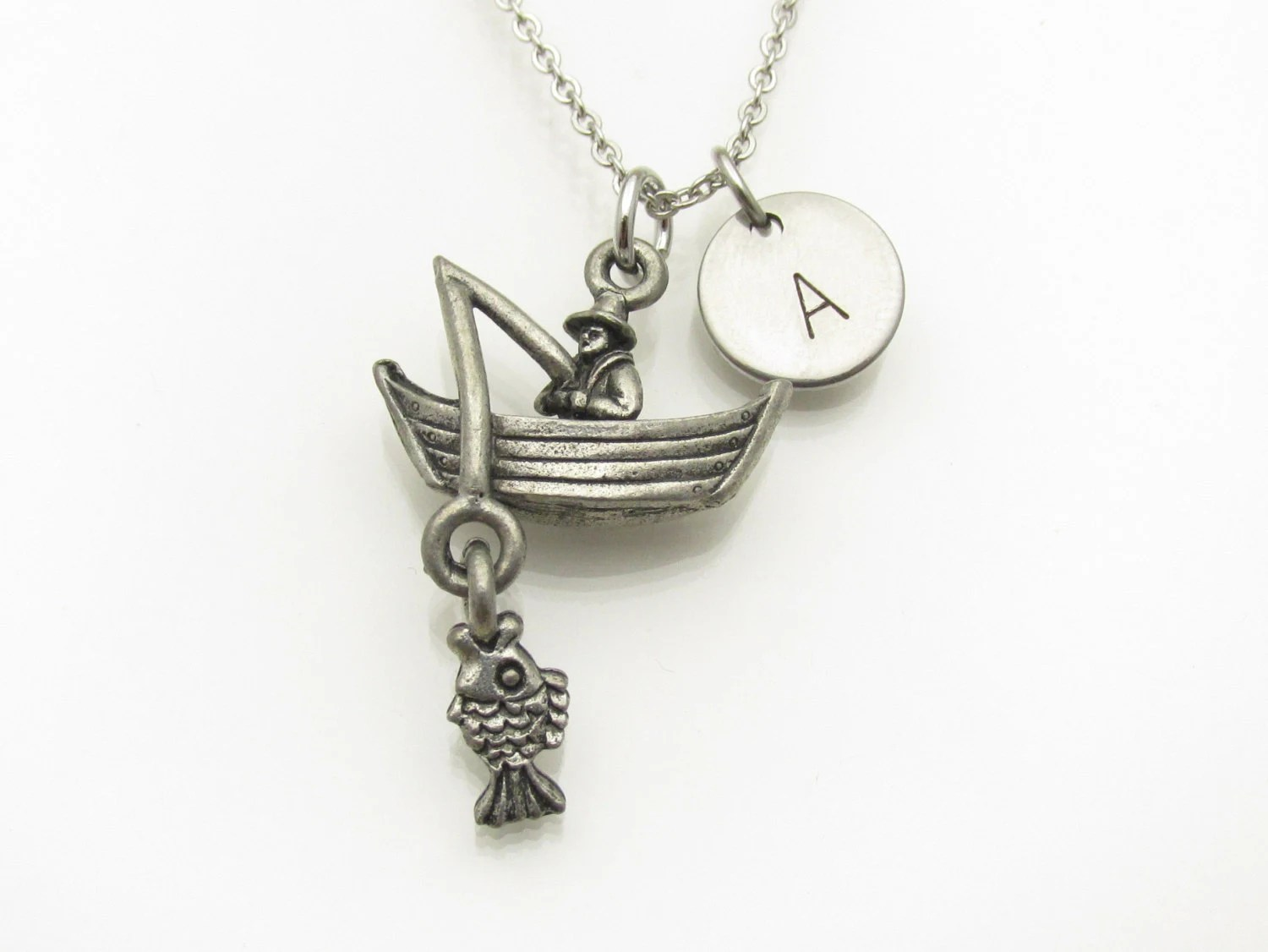 Fishing Boat Necklace Man on Fishing Boat Charm Personalized