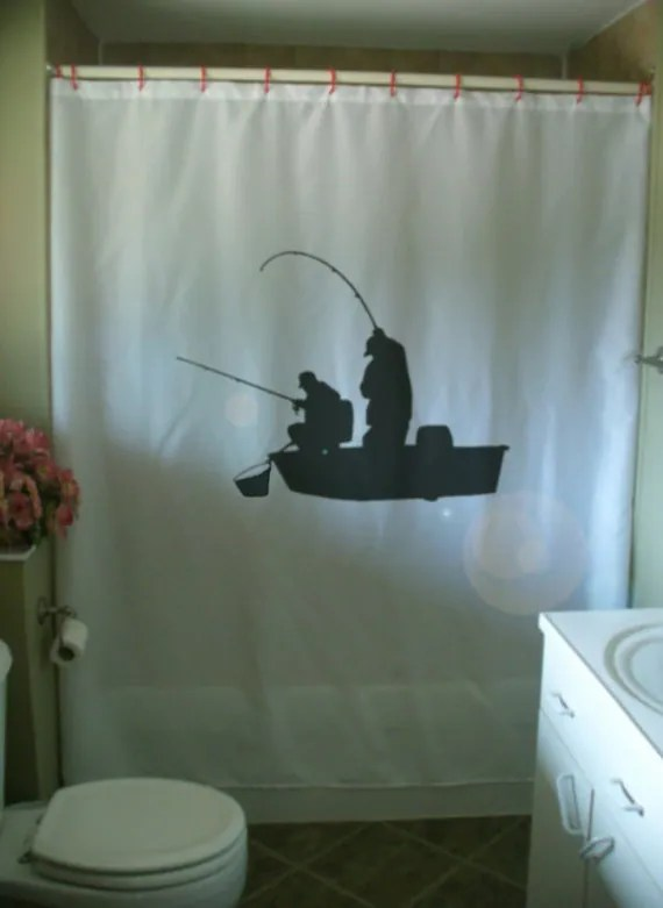 fishing boat Shower Curtain fishermen cast rod net fish male