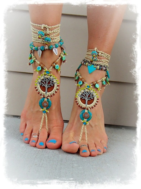 Beaded Yggdrasil Tree Of Life Barefoot Sandals Turquoise Stone