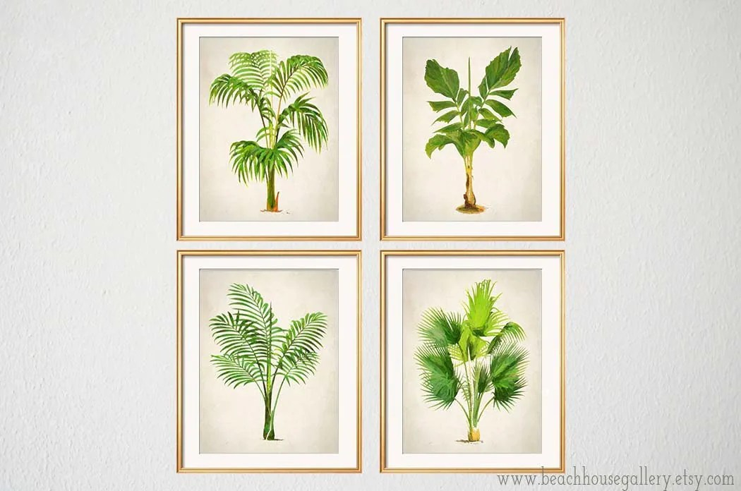 Palm Print Set Of 4 Botanical Prints Palm Tree Wall Art