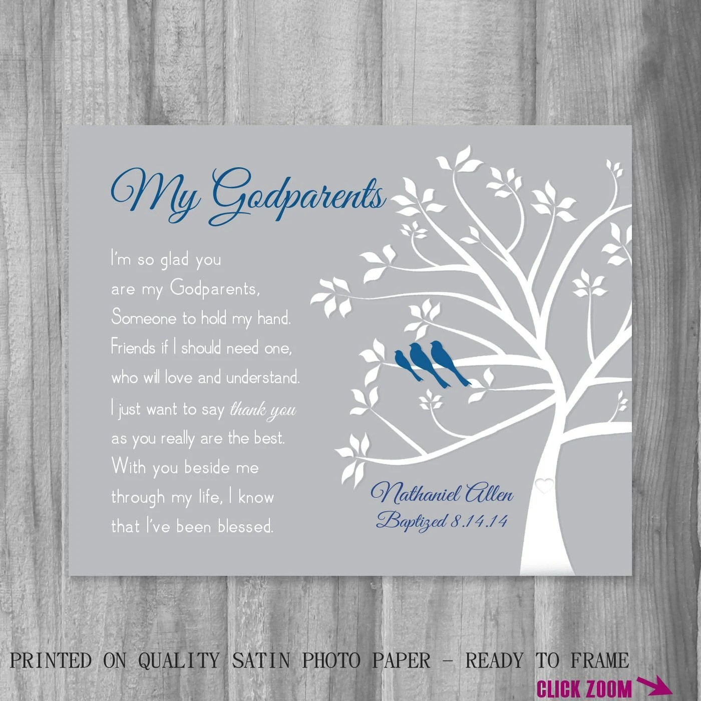 Gift FOR Godparents From Godchild Personalized Godmother Gift