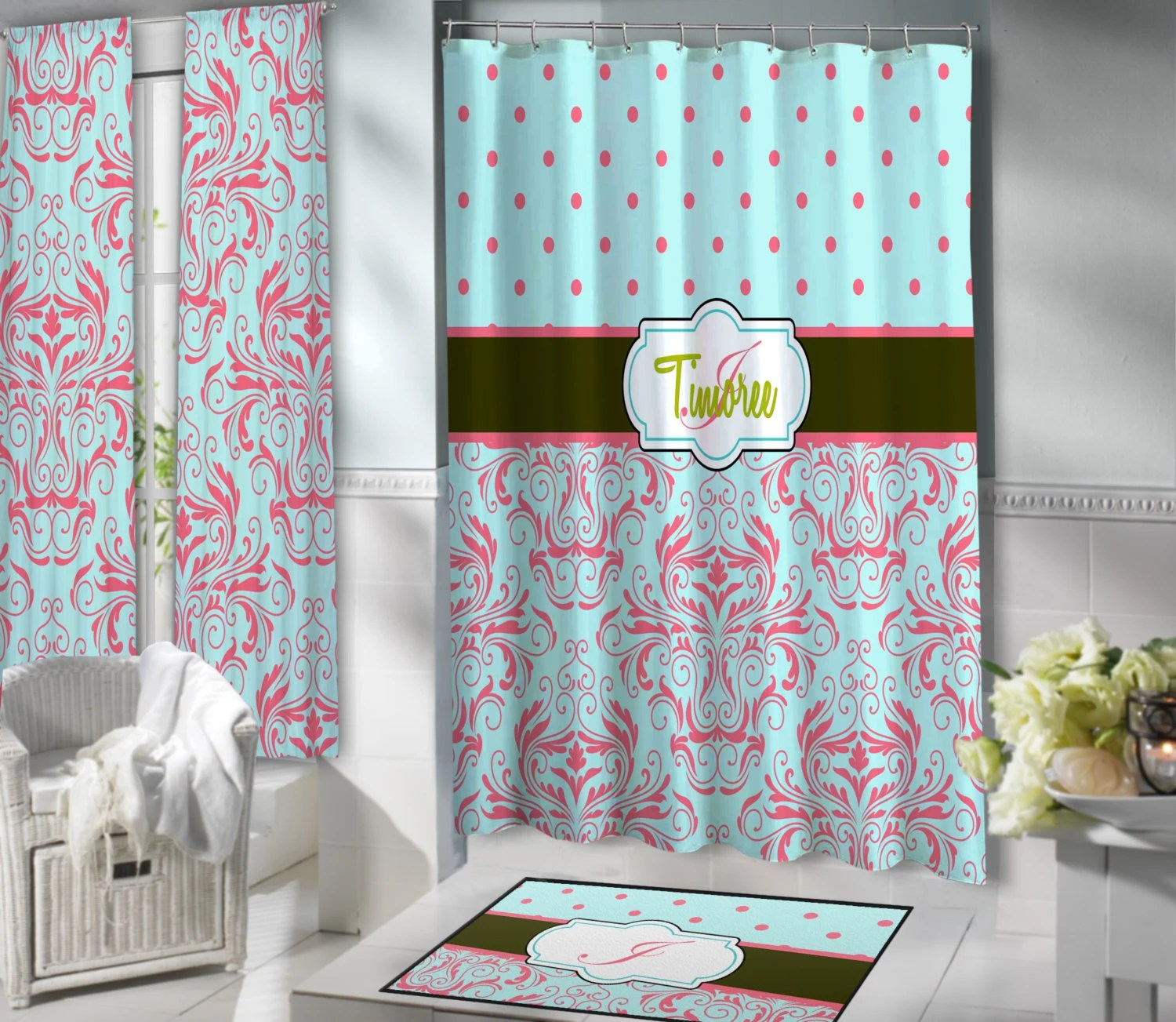 Coral and mint shower curtain - Mint Shower Curtain Etsy