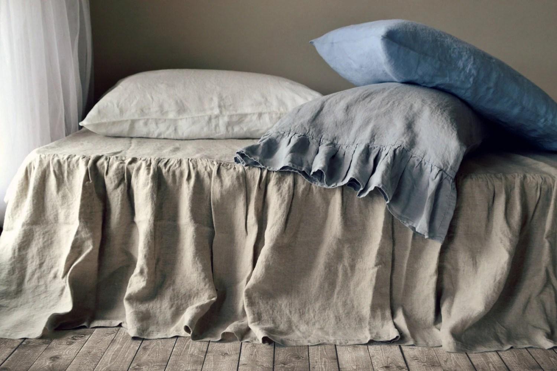 Natural Linen Bedskirt Dust Ruffle Bed Valance Single