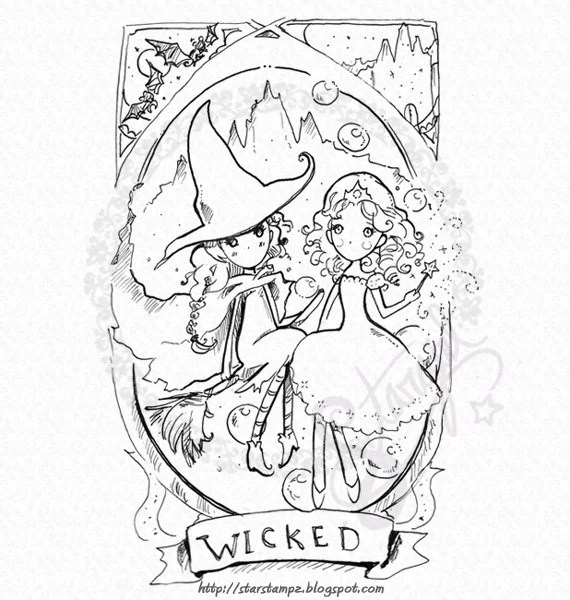 Wicked Elphaba and Glinda DIGITAL STAMP Instant Download