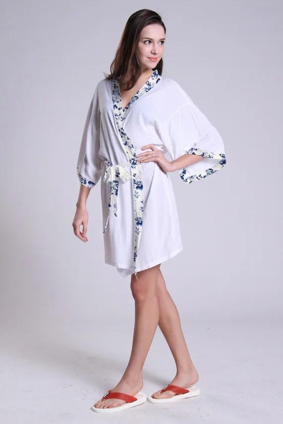 White bride robe cotton robe bridal shower gift for bride maid of honor present bridesmaids
