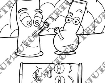 Waterpipe Bong Funny Adult Marijuana Culture Coloring Page