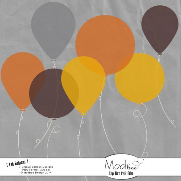 mod fall balloons clip art set