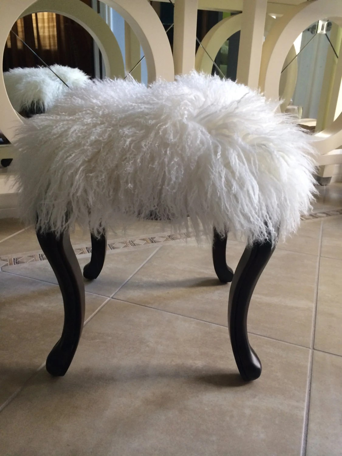 chair step stool windsor back chairs for sale items similar to real natural white mongolian lamb fur up cycled wood bench tibet ...