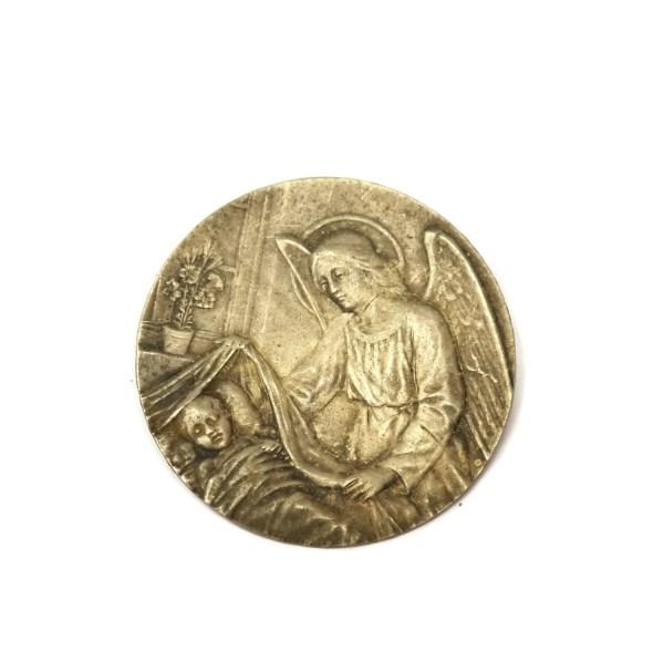 Guardian Angel Medal . Antique Silver Angel. Medallion