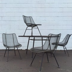 Mid Century Modern Wire Chair Covers Cheap Nz 5 Piece Vintage Russell Woodard Sculptura Octoganal Table