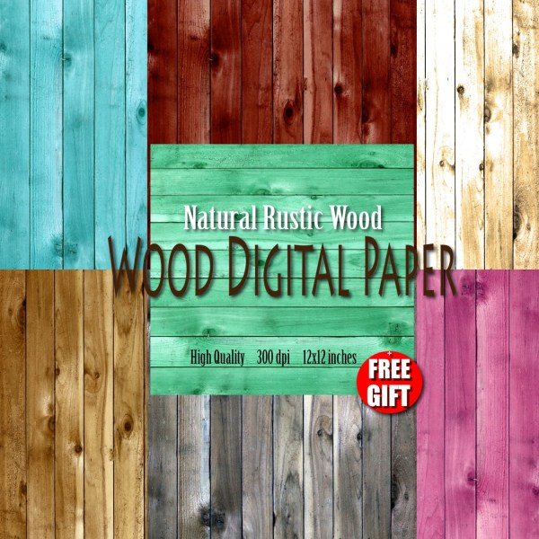 Rustic Wood Digital Paper Background Clipart Wooden
