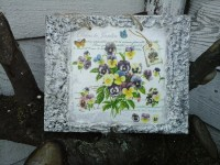 Shabby Chic Wall Decor-Wall Panel-Flower Wall Art-Floral