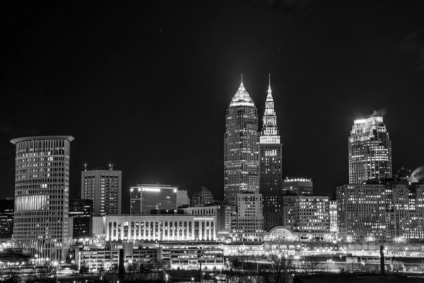 Cleveland Skyline In Black And White Limited Quanity
