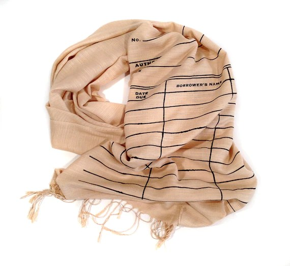 Library Date Due scarf. Book Scarf. Linen weave pashmina. Black silkscreen print on sandy beige scarf & more. Writer, librarian gift.