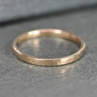 Hammered Rose Gold Ring 18K Rose Gold 2mm band by ...
