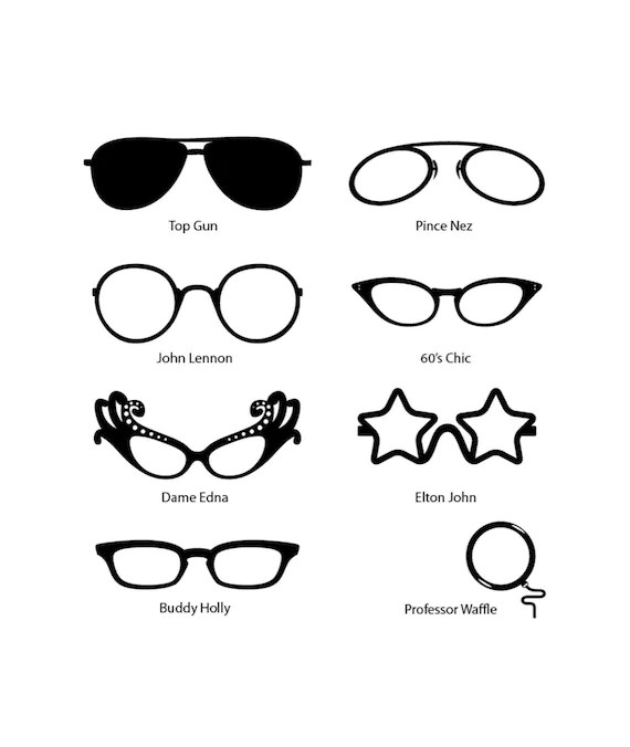 Comedy Fun Celebrity Glasses Wall Stickers for the mirror or