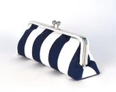 Navy Blue and White Striped Clutch with Cording - NAVY and WHITE Purse - Nautical Purse - Blue Striped Clutch