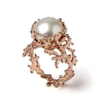 CORAL White Pearl Ring Pearl Engagement Ring 14k Rose Gold
