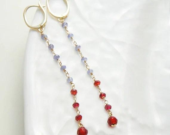 Tanzanite Garnet Long Earrings Gold Wire Beaded Earrings Violet Red by Yukojewelry