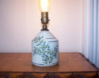 Vintage Union Stoneware Blueberry Lamp Pottery Lamp Made