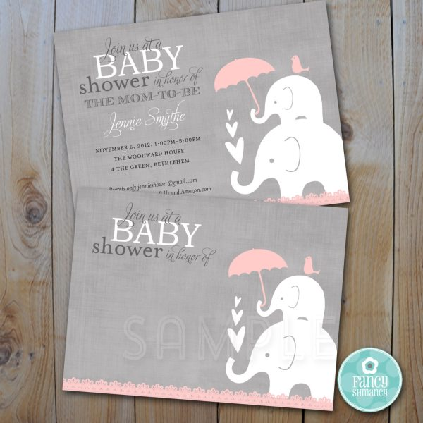 Elephant Baby Shower Printable Invitation Pink And Grey