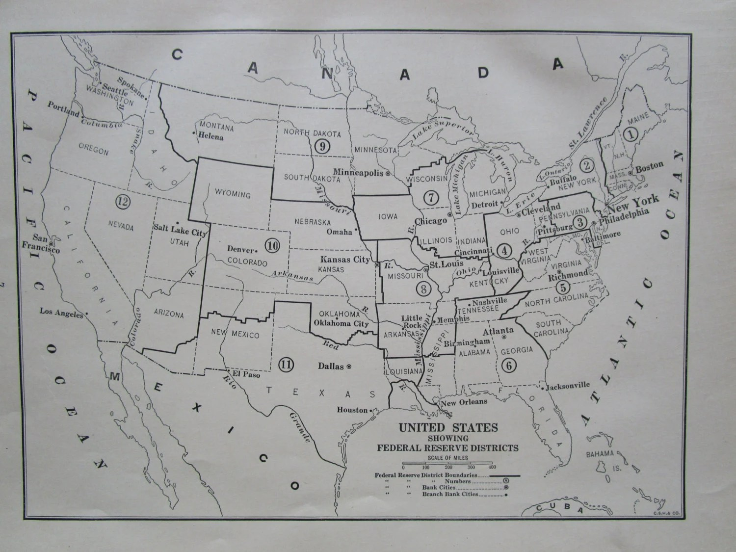 Usa Federal Reserve Districts Map U By