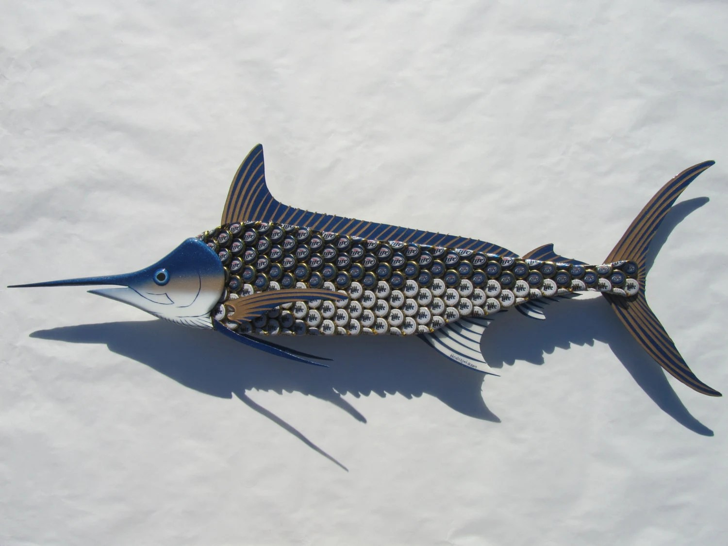 Metal Fish Wall Art Blue Marlin Fish Bottlecap Art