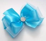 blue satin boutique hair bows