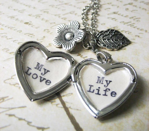 Inspirational Necklace Locket With Quote My Love My Life Heart