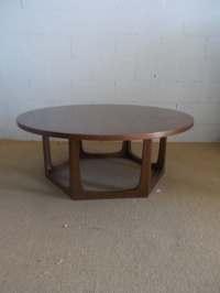 Groovy Big Round Mid Century Modern Walnut Style Geometric ...