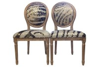 Pair of Genuine Cowhide Accent Chairs French Louis XVI style
